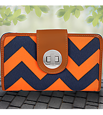 Navy and Orange Chevron Clutch Wallet #NRQ694-NAVY/OR