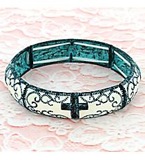 Antiqued Western Cross Stretch Bracelet #OB06023-PTIVY