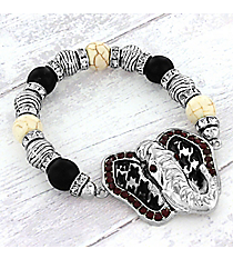Silvertone Houndstooth and Red Crystal Elephant Beaded Stretch Bracelet #OB06031-ASBWT