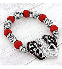 Silvertone Houndstooth and Red Crystal Elephant Beaded Stretch Bracelet #OB06031-ASRED