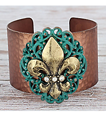 Burnished Goldtone and Patina Fleur de Lis Medallion Coppertone Cuff #OB06623-RTCRY