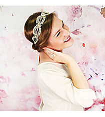 Pearl and Crystal Accented Ivory Lace Headband #OH0281-GLCRY