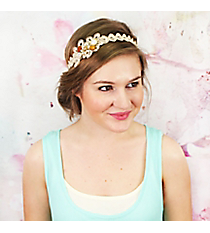 Pearl and Crystal Accented Lace Flourish Headband #OH0302-GLPRL