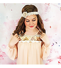 Pearl and Crystal Accented Ivory Lace Flower Headband #OH0347-GLIVY