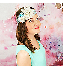 Ivory and Blue Lace Ribbon Flower Headband #OH0402-GLBML