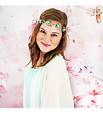 Pearl Accented Mint Flower and Goldtone Leaf Headband #OH0432-AGMNT