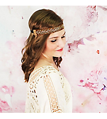 Silver and Gold Beaded Leaf Chocolate Brown Headband #OH0451-GLBRN