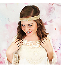 Gold and Silver Beaded Leaf Brown Headband #OH0451-SVLBR