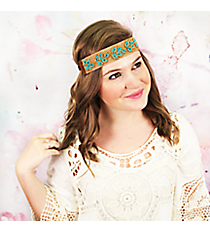 Gold and Turquoise Beaded Leaf Brown Headband #OH0453-GLTQS