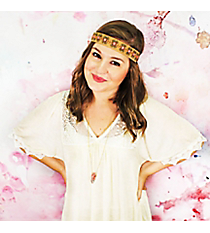 Pink and Gold Beaded Brown Headband #OH0456-PNK