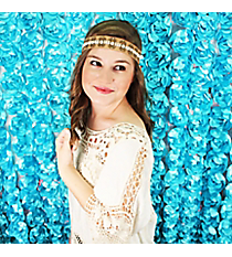White and Gold Beaded Brown Headband #OH0456-WHT