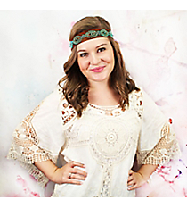 Turquoise and Gold Beaded Chocolate Brown Headband #OH0457-TQS