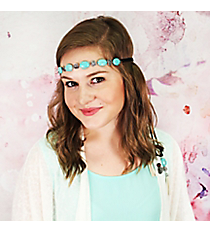 Turquoise Bead and Silver Antique Coin Black Leather Headband #OH0459-SBTQS