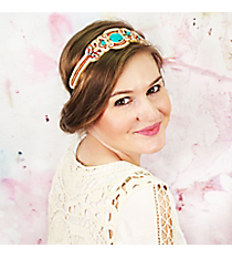 Turquoise Stone Accented Red and Gold Headband #OH0466-GLTCO
