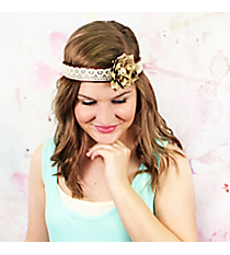 Light Brown Flower Accented Lace & Leather Headband #OH0478-GLBRN