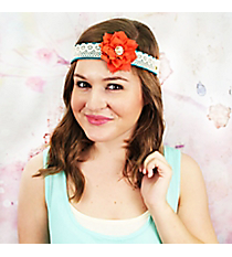 Orange Flower Accented Lace & Leather Headband #OH0478-GLORG