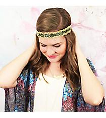 Metallic Blue and Gold Beaded Headband #OH0484-BML