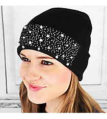 Pearl and Crystal Studded Black Beanie #OH0537-BLK