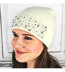 Pearl and Crystal Studded Cream Beanie #OH0537-CRM