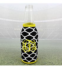Black and White Moroccan with Yellow Trim Bottle Cozy #OMU-BCOZ-BKYW