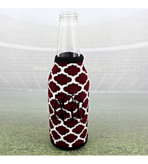Maroon and White Moroccan with Black Trim Bottle Cozy #OMU-BCOZ-MRBK