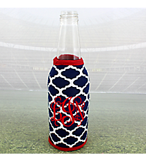 Navy and White Moroccan with Red Trim Bottle Cozy #OMU-BCOZ-NVRD
