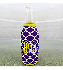 Purple and White Moroccan with Yellow Trim Bottle Cozy #OMU-BCOZ-PRYW