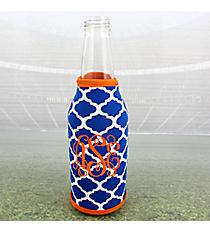 Royal Blue and White Moroccan with Orange Trim Bottle Cozy #OMU-BCOZ-RYOR