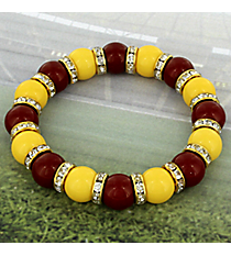 Maroon and Yellow Crystal Accented Beaded Bracelet #OMU-BS-MRYW