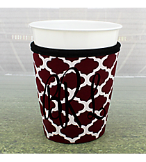 Maroon and White Moroccan with Black Trim Cup Cozy #OMU-CCOZ-MRBK