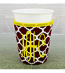 Maroon and White Moroccan with Yellow Trim Cup Cozy #OMU-CCOZ-MRYW