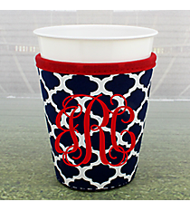 Navy and White Moroccan with Red Trim Cup Cozy #OMU-CCOZ-NVRD