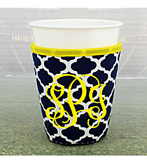 Navy and White Moroccan with Yellow Trim Cup Cozy #OMU-CCOZ-NVYW