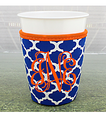 Royal Blue and White Moroccan with Orange Trim Cup Cozy #OMU-CCOZ-RYOR