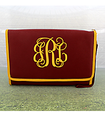 Maroon with Yellow Trim Clutch Wallet #OMU-CLWT-MRYW