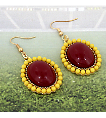Maroon and Yellow Beaded Drop Earrings #OMU-ED-MRYW