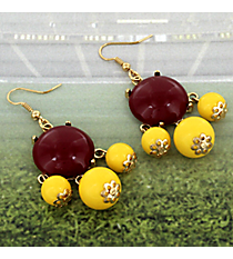 Maroon and Yellow Beaded Chandelier Earrings #OMU-ES-MRYW
