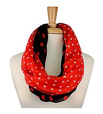 Black and Red Polka Dot Infinity Scarf #OMU-INF-BKRD