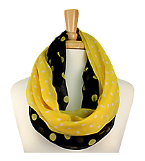 Black and Yellow Polka Dot Infinity Scarf #OMU-INF-BKYW