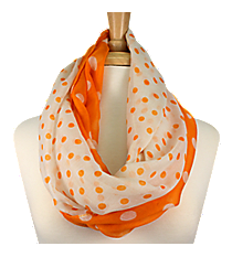 Burnt Orange and White Polka Dot Infinity Scarf #OMU-INF-BTOR