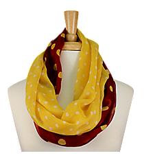 Maroon and Yellow Polka Dot Infinity Scarf #OMU-INF-MRYW