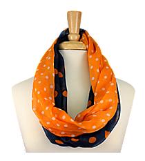 Navy and Orange Polka Dot Infinity Scarf #OMU-INF-NVOR
