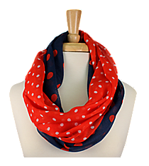 Navy and Red Polka Dot Infinity Scarf #OMU-INF-NVRD