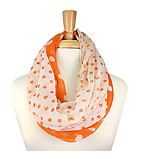 Orange and White Polka Dot Infinity Scarf #OMU-INF-OR