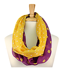 Purple and Yellow Polka Dot Infinity Scarf #OMU-INF-PRYW