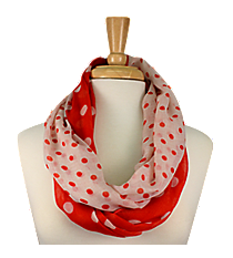 Red and White Polka Dot Infinity Scarf #OMU-INF-RD