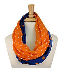 Royal Blue and Orange Polka Dot Infinity Scarf #OMU-INF-RYOR