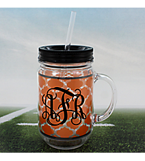 Orange Moroccan with Black Trim Mason Jar Tumbler with Straw #OMU-JAR-ORBK