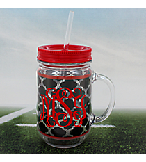 Black Moroccan with Red Trim Mason Jar Tumbler with Straw #OMU-JAR-BKRD