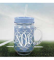 Light Blue Moroccan Mason Jar Tumbler with Straw #OMU-JAR-LTBL